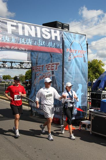 Mike, Dennis Atkins and Sheila Weishaar, St. Charles Lewis and Clark Marathon 20
